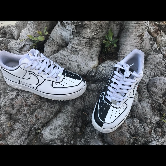 Nike Nike Nike Chaussures Custom Two Face Air Force Ones Poshmark 054806